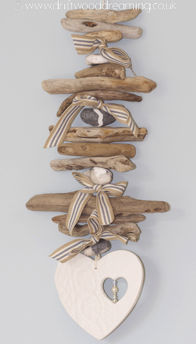 Driftwood garland heart with beads c