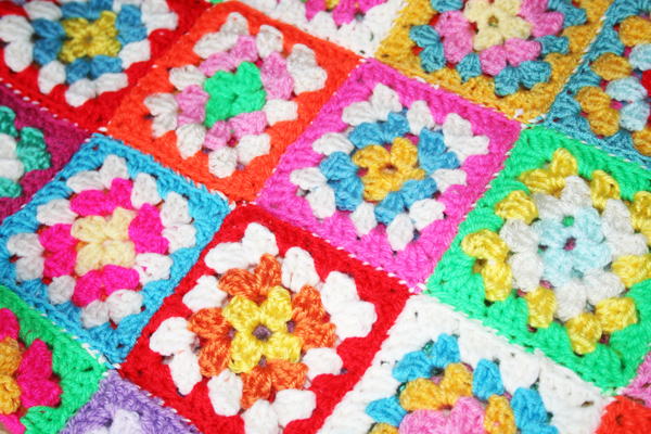 Multi Coloured Granny Square Baby S Blanket Driftwood