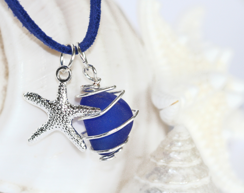 Royal blue sea glass necklace